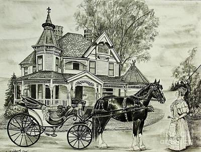Horse And Buggy Drawing - Lady N Waiting by Carolyn Valcourt