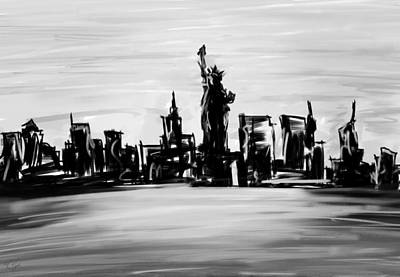Abstract Skyline Painting - Lady Of New York- Black And White by Lourry Legarde