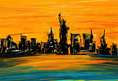 Abstract Skyline Painting - Lady Of New York by Lourry Legarde