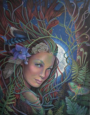 Luna Moth Drawing - Lady Of The Forest by Susan Helen Strok