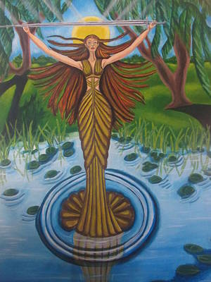 Excalibur Painting - Lady Of The Lake by Carmelita Lake