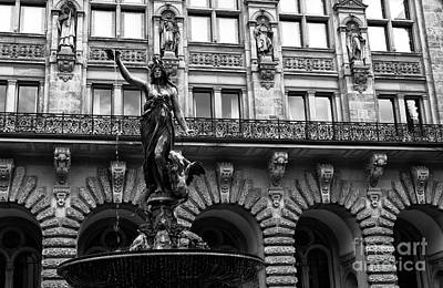 Photograph - Lady Of The Rathaus Fountain Mono by John Rizzuto