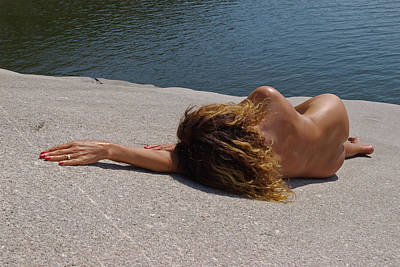 Nudes Photograph - Lady On A Rock by Rick Olson