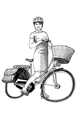 Drawing - Lady On Bike by Karl Addison