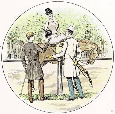 Equestrian Clothes Drawing - Lady On Her Horse In 1892 Britain by Maurice Charles Mathieu Bonvoisin (named Maurice Charles Mathieu Bonvoisin (named Mars), (1849-1912), Belgian), (1849-1912), Belgian