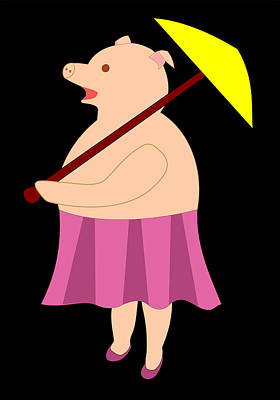 Drawing - Lady Pig With Umbrella by John Orsbun