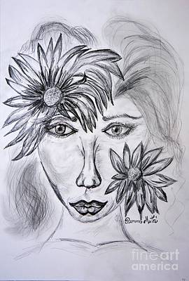 Drawing - Lady Queen Of Sunflowers by Ramona Matei