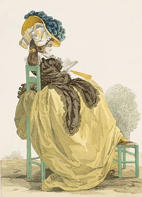 Chair Drawing - Lady Reading In A Garden In A Simple by Francois Louis Joseph Watteau