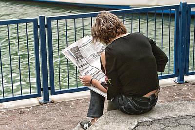 Lady Reading Newspaper Original by Linda Phelps