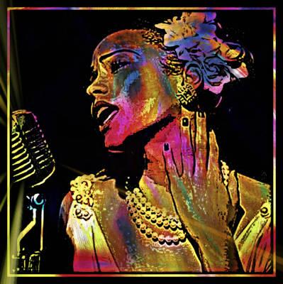 Singer Mixed Media - Lady Sings The Blues by Wendie Busig-Kohn