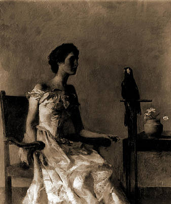 Lady Sitting On Chair Next To Parrot, Dewing Art Print