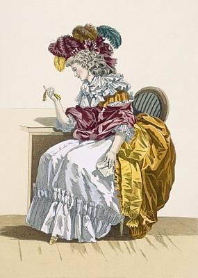 Lady Sitting Waiting For A Friend Art Print by Francois Louis Joseph Watteau