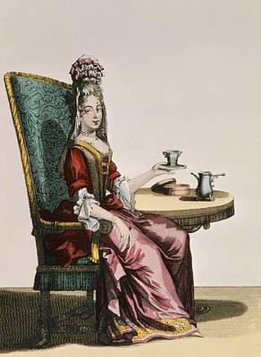 Ribbon Drawing - Lady Taking Coffee, Fashion Plate by Nicolas Bonnart