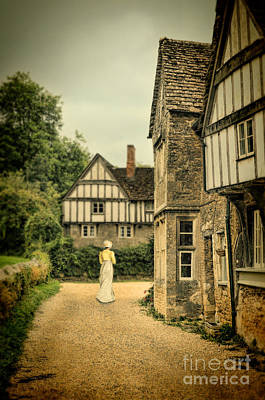 Charming Cottage Photograph - Lady Walking In The Village by Jill Battaglia