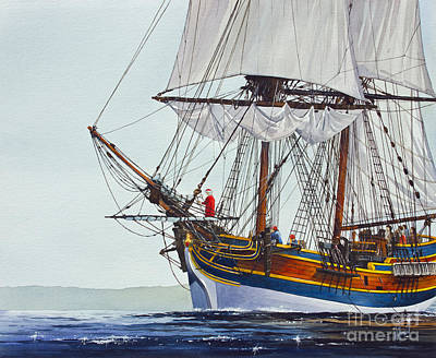 Lady Washington And Captain Gray Art Print by James Williamson