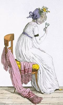 Lady Wearing A Negligee, From Costume Art Print by French School