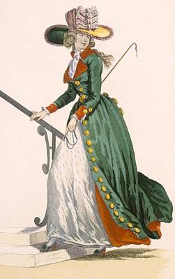 Crop Drawing - Lady Wearing German Style Riding by Francois Louis Joseph Watteau