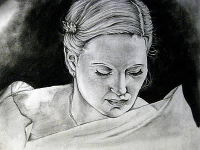 Black Widow Drawing - Lady Widow White by Aliza Mirza