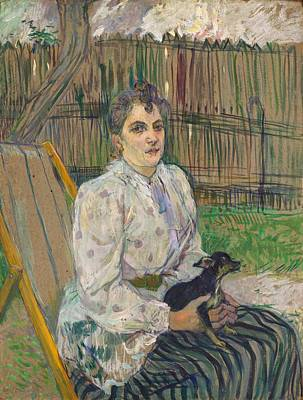 Lady With A Dog Art Print by Toulouse-Lautrec