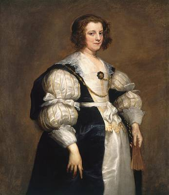Lady With A Fan Art Print by Anthony van Dyck