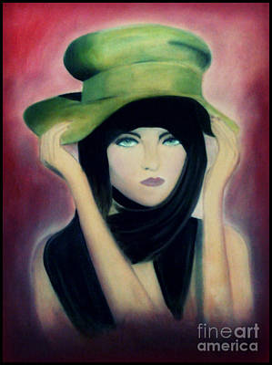 Painting - Lady With A Green Hat by Angie Staft