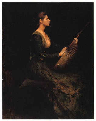 Woman Playing A Lute Painting - Lady With A Lute by Thomas Wilmer Dewing