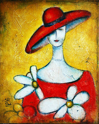 Abstract Art Painting - Lady With A Red Hat by Nebojsa Jovanovic NESAART