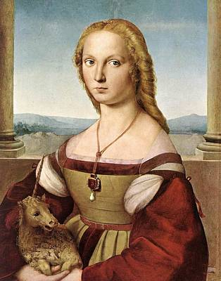 Unicorn Art Painting - Lady With A Unicorn - 1505 by Raphael