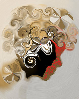 Digital Art - Lady With Curls by Gillian Owen