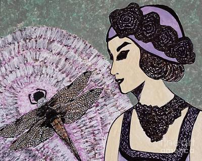 Metal Dragonfly Painting - Lady With Dragonfly by Jasna Gopic
