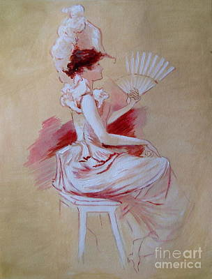 Painting - Lady With Fan - After Jules Cheret by Elizabeth Crabtree