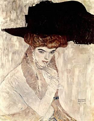 Painting - Lady With Feather Hat by Gustav Klimt
