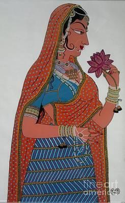 Lady With Flower Original