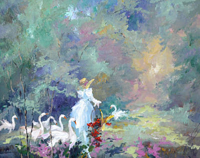 Lady With Geese Art Print by Steven Nevada