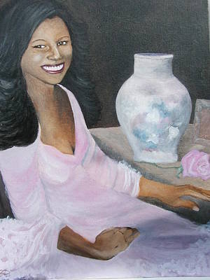 Painting - Lady With Pink Rose by Angelo Thomas