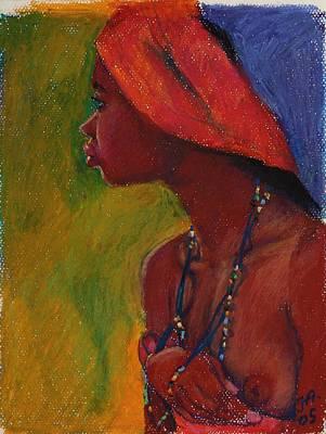 Lady With Red Headdress Art Print