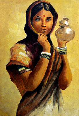 Indian Cultural Painting - Lady With The Pot by Farah Faizal