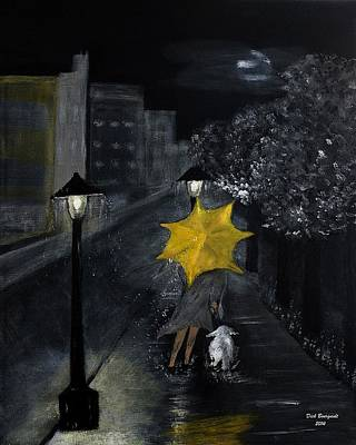 Lady With Yellow Umbrella And White Dog Art Print