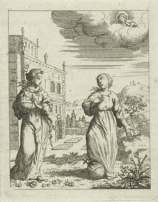 Trample Drawing - Lady World And The Personified Soul Tramples An Orb by Jan Luyken And Pieter Arentsz Ii