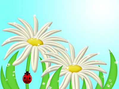 Grimm Fairy Tales - Ladybug Climbing Up Daisy Flower Stem by David Gn