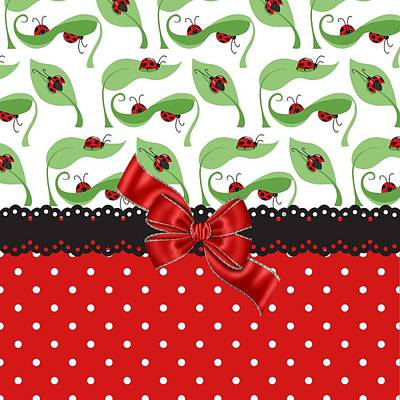 Red Ribbon Digital Art - Ladybug Delight  by Debra  Miller