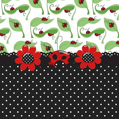 Ladybug Flower Power Art Print by Debra  Miller
