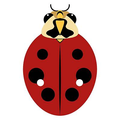 Digital Art - Ladybug Graphic Dark Red by MM Anderson