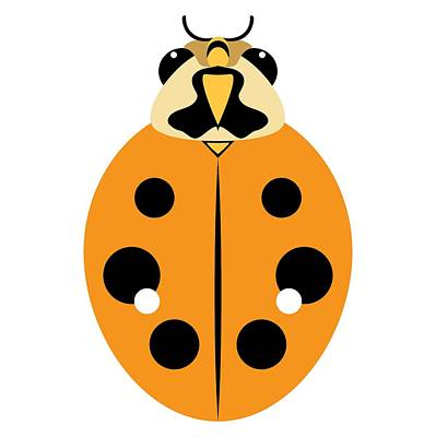 Digital Art - Ladybug Graphic Golden Orange by MM Anderson