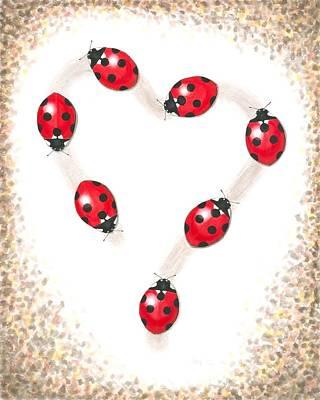 Painting - Ladybug Heart by Anna Bronwyn Foley