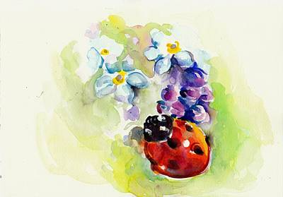 Ladybug In Flowers Art Print by Tiberiu Soos