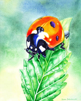 Lady Bug Painting - Ladybug Ladybug Where Is Your Home by Irina Sztukowski