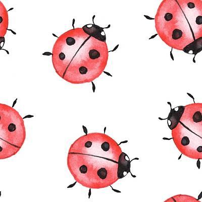 Digital Art - Ladybugs. Seamless Pattern 1 by Ogri