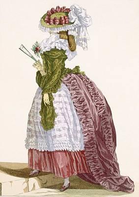 Ladys Elaborate Gown In Burgundy Art Print