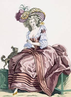Cavaliers Drawing - Ladys Elegant Caramel Coloured Satin by Francois Louis Joseph Watteau